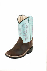 Toddler Old West Boot, Brown Vamp with Light Blue Shaft, Red Stitch