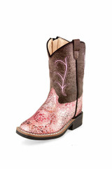 Toddler Old West Boots, Brown Shaft with Pink Gator Print Shaft