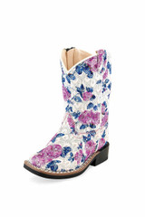 Toddler Old West Boots, White with Pink and Blue Floral Print