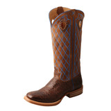 Men's Twisted X Boot, Buckaroo, Blue Cross Stitch Shaft, Cracked Brown Vamp