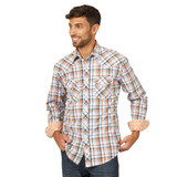Men's Wrangler L/S, 20X, Orange and Navy Plaid, Snaps