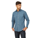 Men's Wrangler L/S, Wrinkle Resistant, Blue and Gray Plaid, Snaps