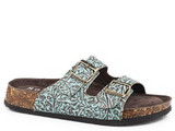 Women's Roper Sandal, Jezebel, Turquoise Tooled Leather, 2 Strap