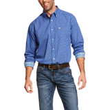 Men's Ariat L/S, Ziam, Cobalt Blue and White Checkered Print