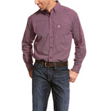 Men's Ariat L/S, Alistar, Magenta Purple and Whilte Print