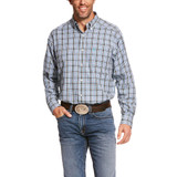 Men's Ariat L/S, Baccus, Black, White and Blue Plaid