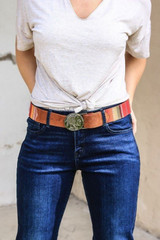 Women's L&B Belt, Red Serape, Indian Head Coins