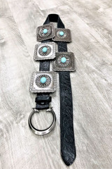 Women's L&B Belt, Black Tooled, Square Turquoise Conchos
