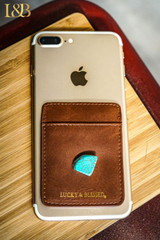 L&B Phone Wallet, Brown with Turquoise Stone