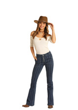 Women's Rock & Roll Jeans, Striped Denim Flare, No Pocket