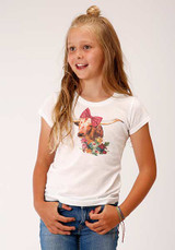 Girls Roper Tee, White with Steer, Bow and Flowers