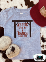 Toddler Whole Herd Tee, Jesus Saved and Ranch Raised, Gray