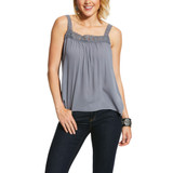 Women's Ariat Tank, Zen, Gray with Lace