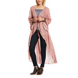 Women's Ariat Duster, Pink with Tie front, Bell Sleeve