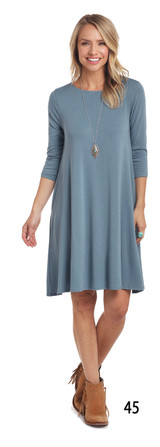 Women's Panhandle Dress, Slate Blue, Swing, 3/4 Sleeve