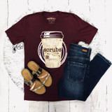 Women's CS Tee, Heather Maroon, Coffee, Scrubs and Rubber Gloves