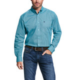 Men's Ariat L/S, Vinceton, Aqua with Black Print