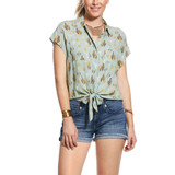 Women's Ariat Top, Cap Sleeve, Cactus and Aztec Print, Front Tie