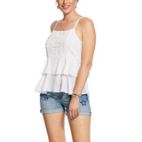 Women's Ariat Tank, Derya, White Embroidered, Layered