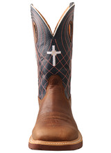 Men's Twisted X Work Boot, Alloy Toe, Mocha Vamp, Navy Shaft with Orange Stitching and Cross