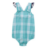 Baby Girls Wrangler Romper, Light Blue Plaid with Southwest Print Ruffle
