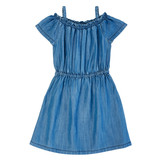 Girls Wrangler Dress, Chambray with Ruffled Details