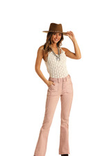 Women's Rock & Roll Jeans, High Rise Flare, Pale Pink