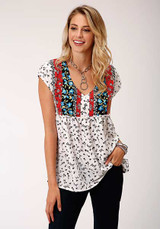 Women's Roper Top, White with Black Floral Print, Red and Blue Floral Front