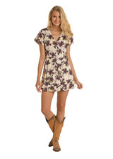 Women's Rock & Roll Dress, Faux Wrap, Cream With Floral Print