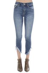 Women's KanCan Jeans, Mid Rise, Super Skinny, Angled Fringe Hem