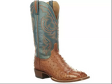 Men's Lucchese Boot, Harris, Brown Full Quill Ostrich with Light Blue Shaft