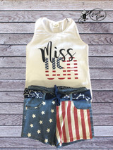 Girls Ily Lily Set, Miss USA shirt, Denim Flag Shorts