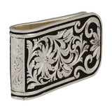 Montana Money Clip, Silver and Black Floral Scroll Pattern