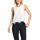 Women's Ariat Tank, Loretta, White with Lace Overlay
