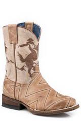 Youth Roper Boots, Tan Zig Zag Vamp, Bronc Rider Shaft