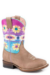 Youth Roper Boots, Tan Vamp with Aztec Sunflower Shaft