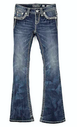 Girls Miss Me Jeans, Bootcut, Cream Stitching
