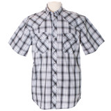Men's Wyoming Traders S/S, Silver and Black Plaid