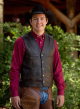 Men's Wyoming Traders Vest, Bighorn Goat Leather, Dark Antique
