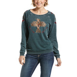 Women's Ariat Sweatshirt, Thunderbird, Gray with Embroidery