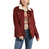 Women's Ariat Jacket, Rustic Trucker, Burgundy Corduroy with Sherpa Lining