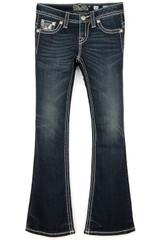 Girls Miss Me Jeans, Green Sequin, Dark Wash