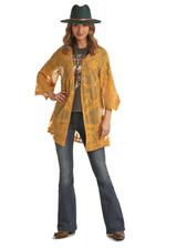 Women's Rock & Roll Cardigan, Mustard Floral Lace