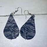 2W Earrings, Leather Teardrop, Black Crocodile