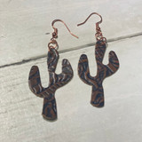 2W Earrings, Tooled Cactus Leather