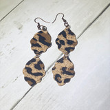 2W Earrings, Crinkle Cut Middle, Double Layer Cheetah