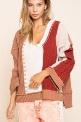 Women's POL Sweater, Camel, Cream and Burgundy Stripes