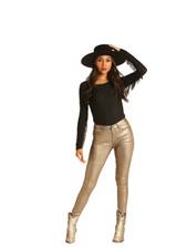 Women's Rock & Roll Jeans, High Rise Skinny, Metallic Gold