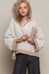 Women's POL Sweater, Hooded with Big Pocket, Almond, Soft Camel