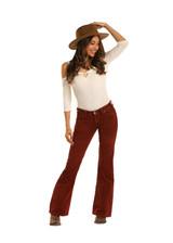 Women's Rock & Roll Jeans, Flare, Rust Corduroy